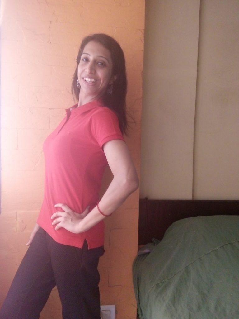 Leelan red color collar half sleeve polo t-shirt rib top