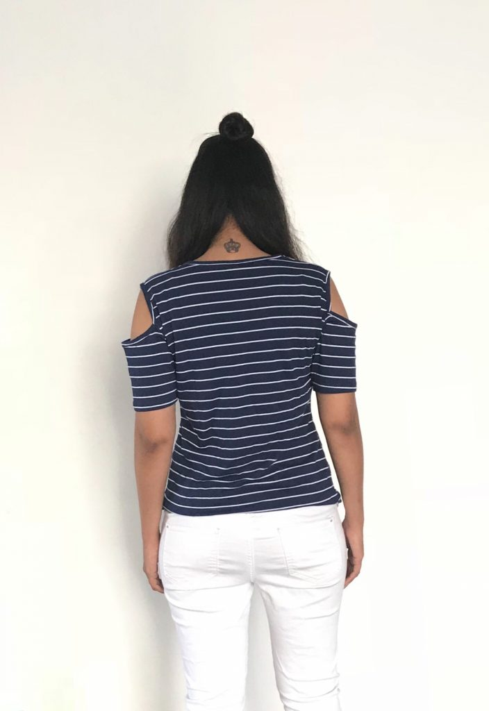 Stripes Cold Shoulder Half Sleeve Top